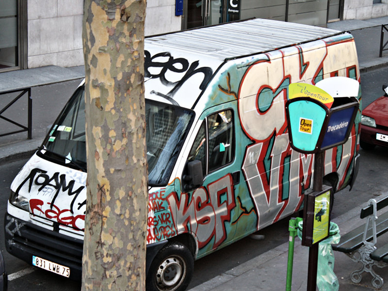 Graffiti Van in Paris, France